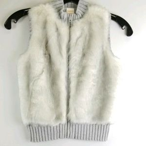 Gymboree Girls 7/8 Gray Faux Fur Full Zipper Vest